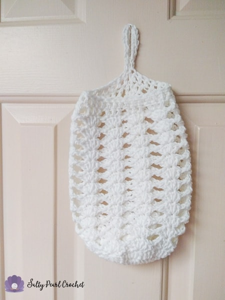 Stacked Shells Grocery Bag Sleeve- Here's the empty bag to give you an idea of how it'll look as you're crocheting.