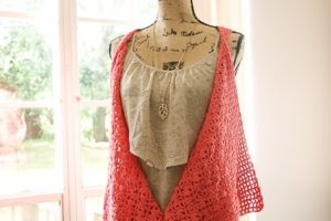 the Clamshell Lace Vest, made from Premier Cotton Fair yarn by SaltyPearlCrochet.com