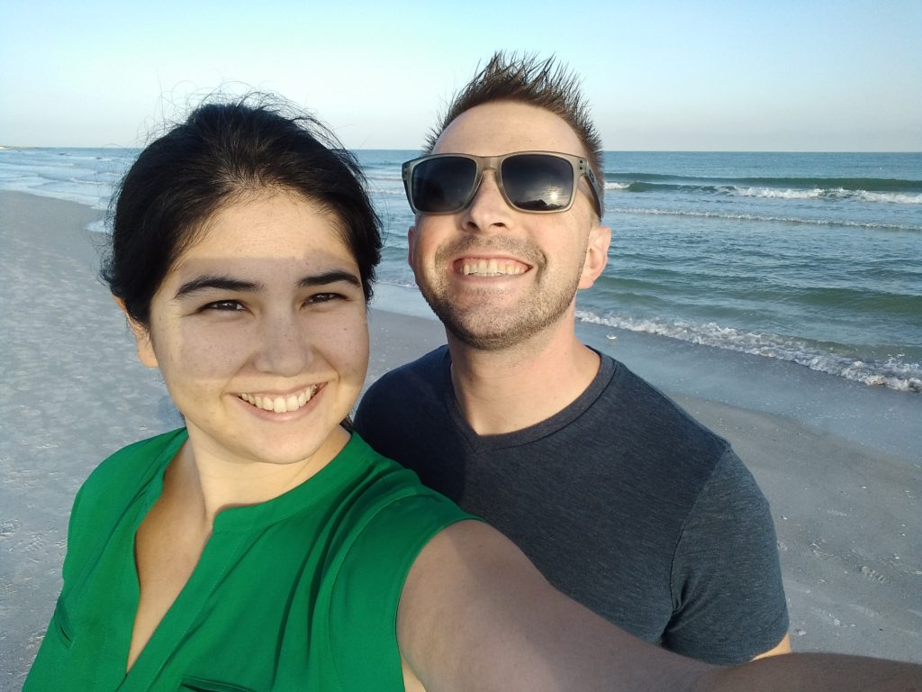 Katie with David on the beach in St. Pete.