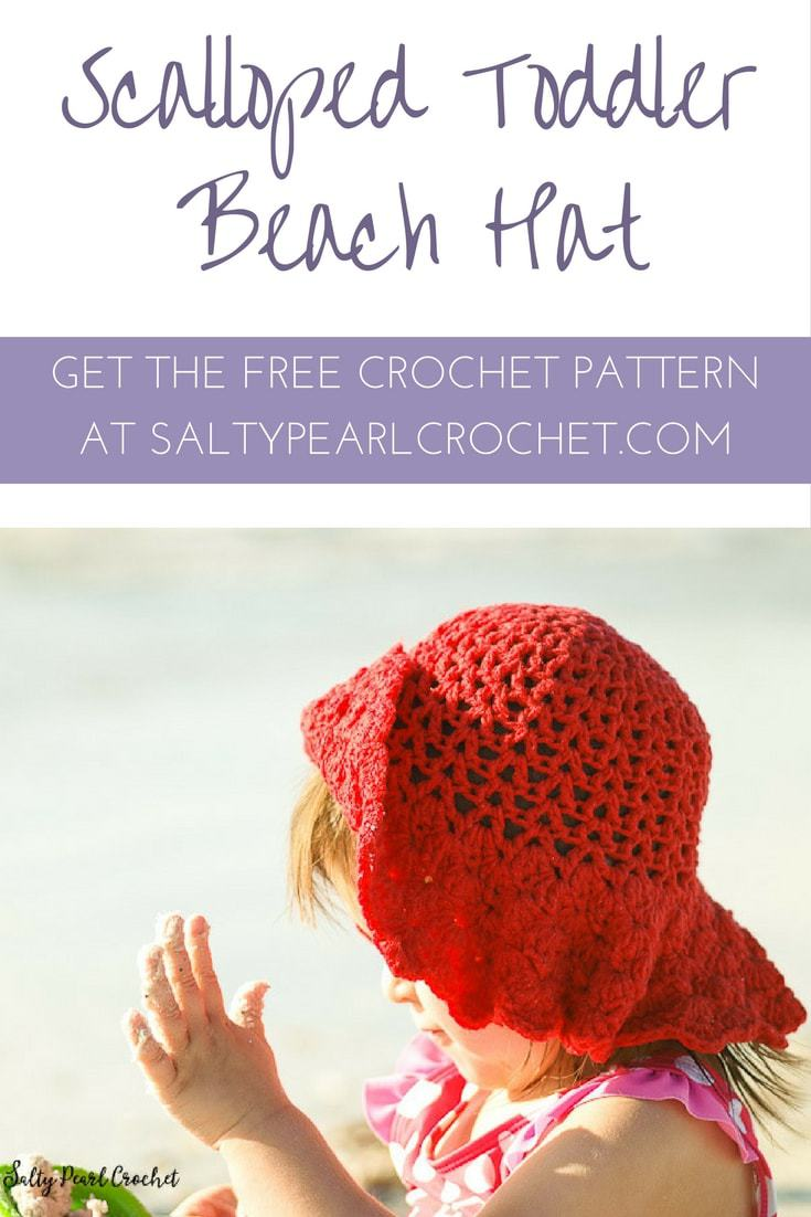 Find the FREE Scalloped Toddler Beach Hat Pattern at SaltyPearlCrochet.com
