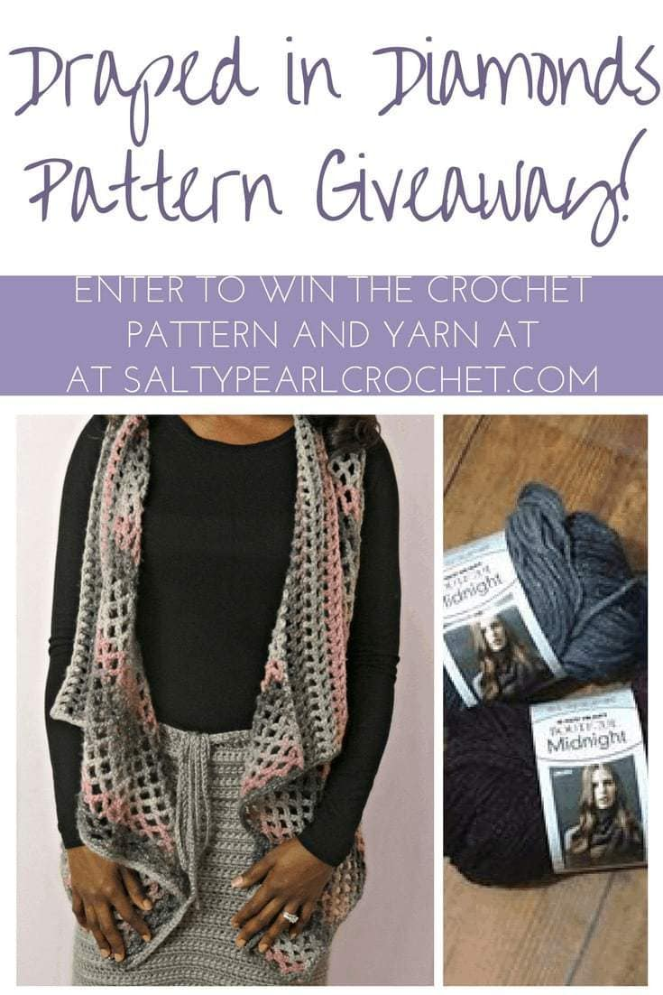 Enter the giveaway for 4 balls of Boutique Midnight yarn to make the Draped in Diamonds Crochet Vest at SaltyPearlCrochet.com!