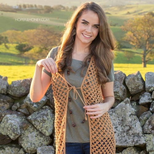 Whispering Birch Boho Vest - part of a boho crochet vest pattern collection curated by SaltyPearlCrochet.com.
