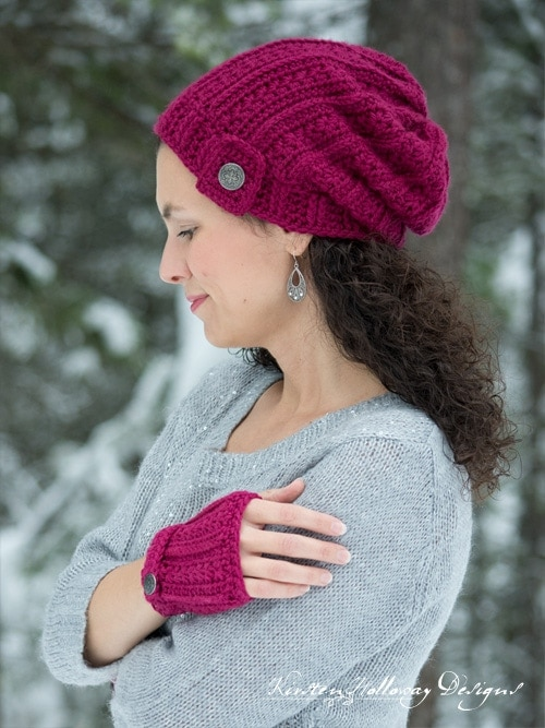 woman wearing matching crochet hat and gloves