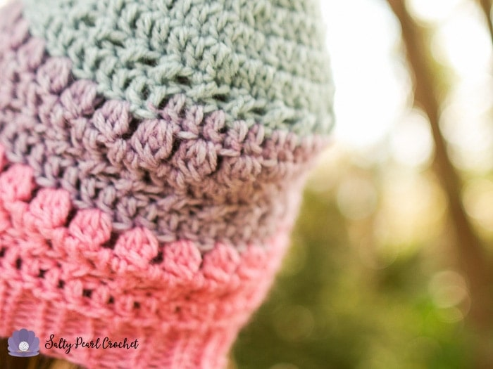 A Closeup of the XO Textured Toque Crochet Pattern to show off the 3dc Cluster Stitches.