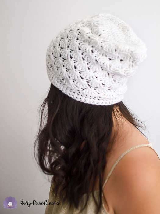 Side view of the Venus Shell crochet slouch hat pattern