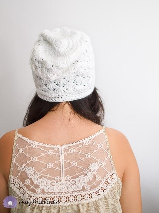 Woman wearing a slouchy crochet hat