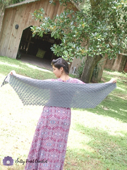 A wide shot of the lace mermaid tears crochet shawl pattern.