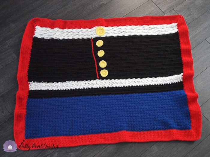A full view of the Service Dress Easy Crochet Blanket Pattern laid out flat