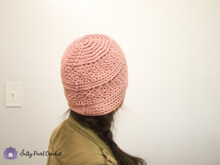 Back view of a pink hat made from Linda's Easy Crochet Chemo Cap Pattern to show the ridges on the crown.