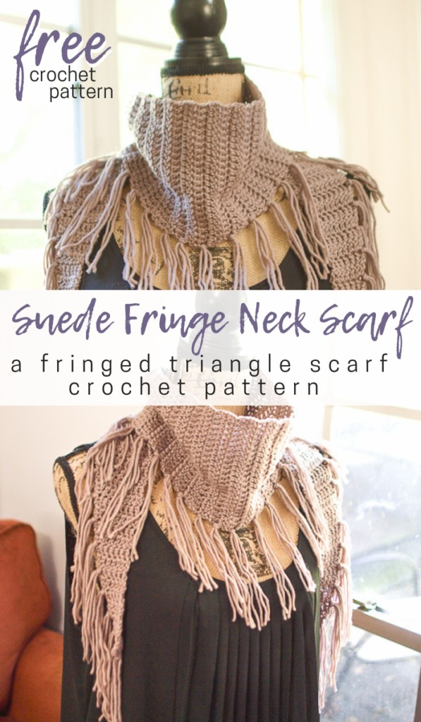 A collage of two photos of a triangle crochet scarf with fringe pattern.