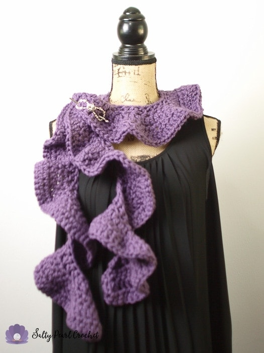 Chunky Crochet Ruffle Scarf pinned on a Mannequin