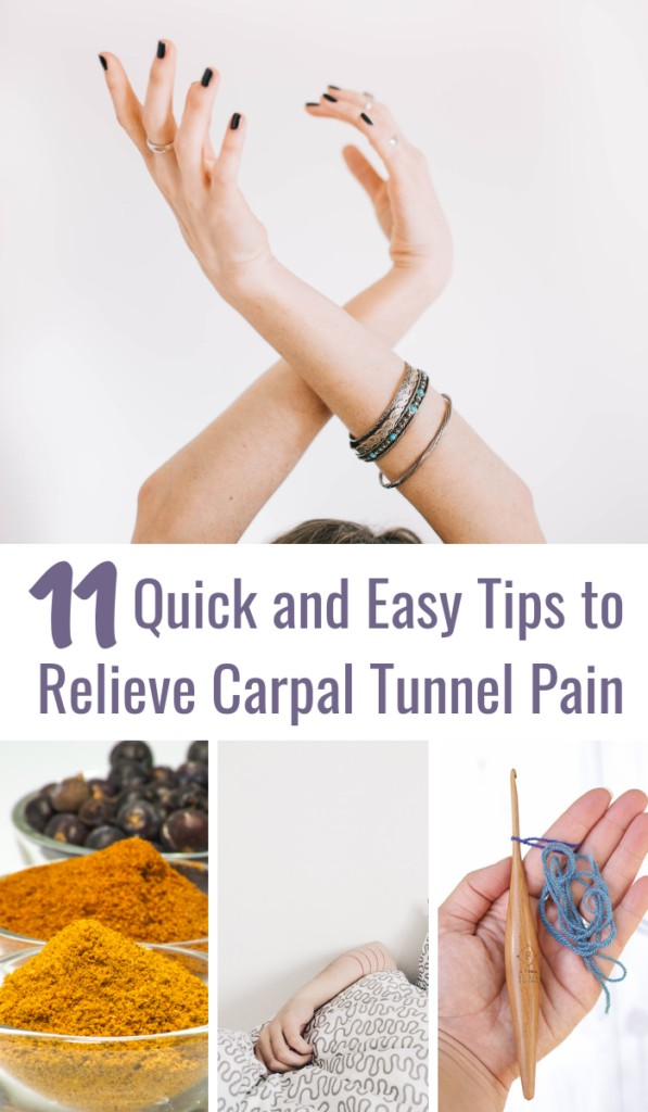 collage showing some carpal tunnel relief tips for crocheters