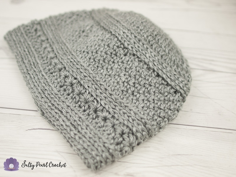 Gray textured crochet hat for men.
