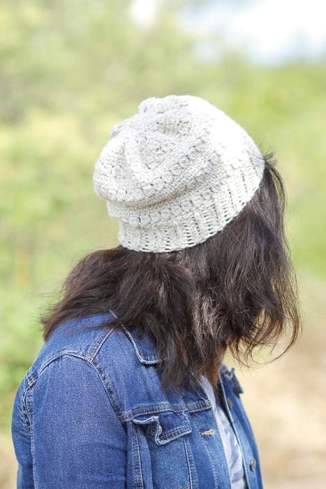 Woman wearing a hat made from the Clearwater Beach Slouchy Hat Pattern.