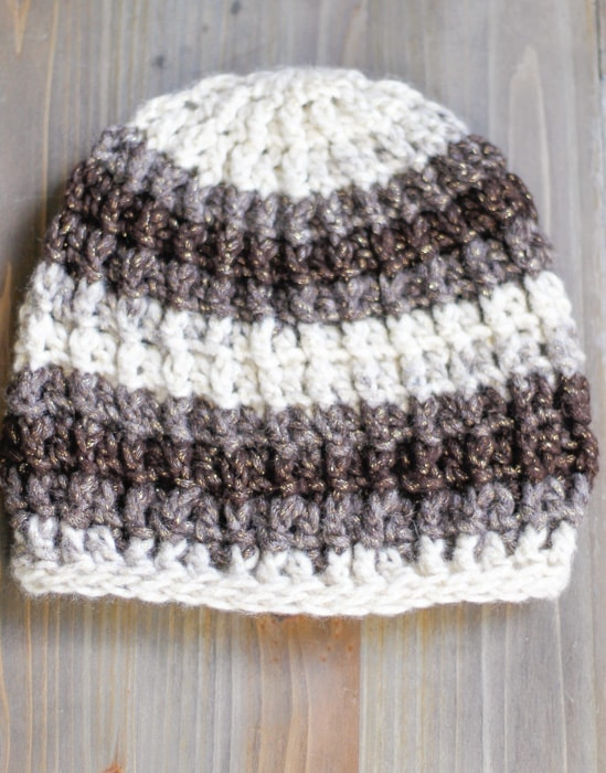 A simple crochet cable hat with cable ribbing.