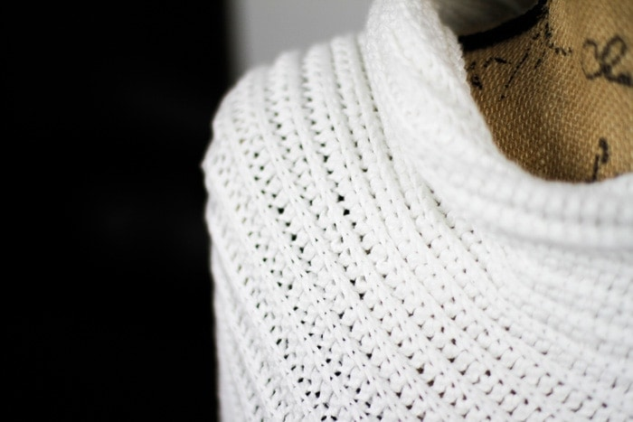 Close up view of the crochet ribbing used in this free poncho pattern.