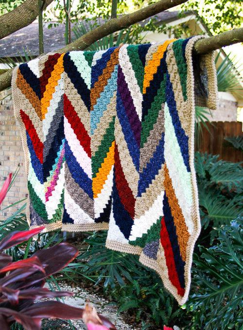 A pretty crochet scrap blanket pattern using the corner to corner stitch.