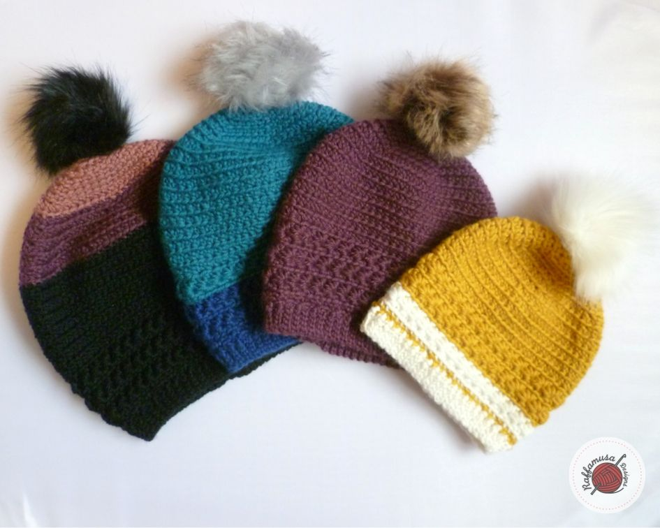 Four crochet star stitch hat with pom poms