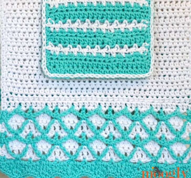 Crochet washcloth and matching crochet hand towel