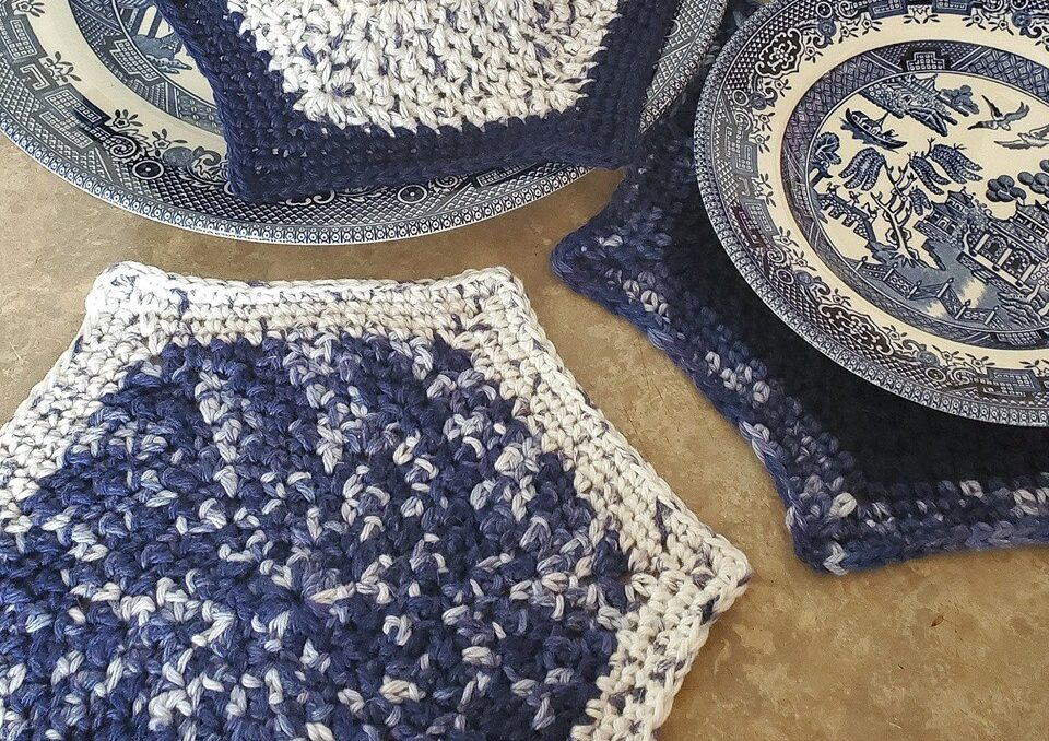 blue hexagon crochet dishcloths