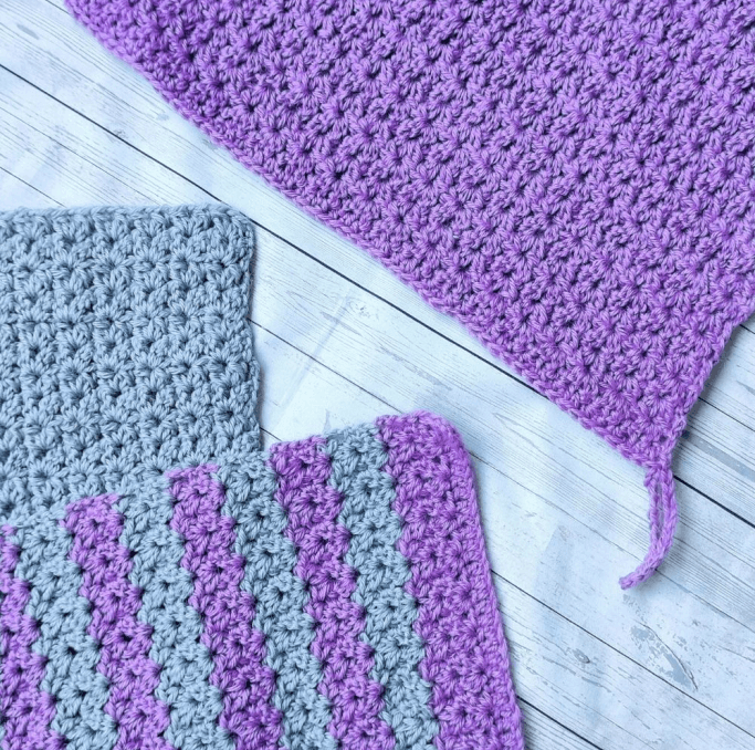Three easy crochet washcloths with hanging loops