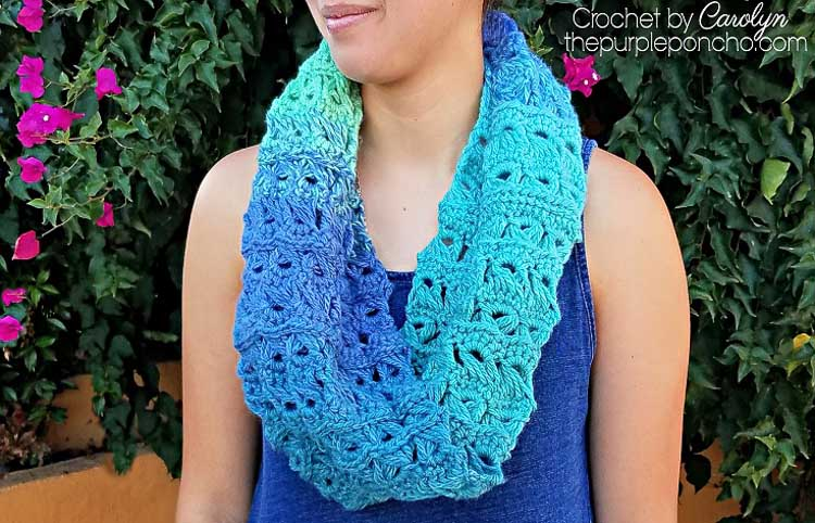 A crochet infinity scarf made with broomstick lace from one skein of yarn