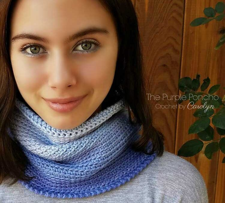 A crochet cowl made from one skein of ombre yarn